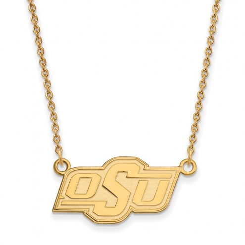 Oklahoma State Cowboys Sterling Silver Gold Plated Small Pendant Necklace