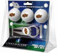 Oklahoma State Cowboys Golf Ball Gift Pack with Hat Trick Divot Tool