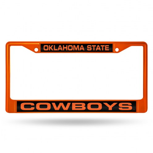 Oklahoma State Cowboys Laser Colored Chrome License Plate Frame