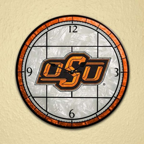 Oklahoma State Cowboys NCAA Stained Glass Wall Clock
