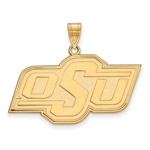 Oklahoma State Cowboys NCAA Sterling Silver Gold Plated Large Pendant