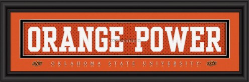"Oklahoma State Cowboys ""Orange Power"" Stitched Jersey Framed Print"