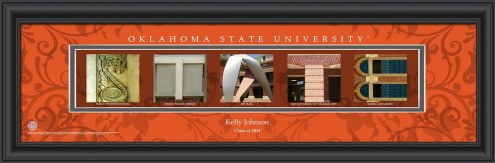 Oklahoma State Cowboys Personalized Campus Letter Art