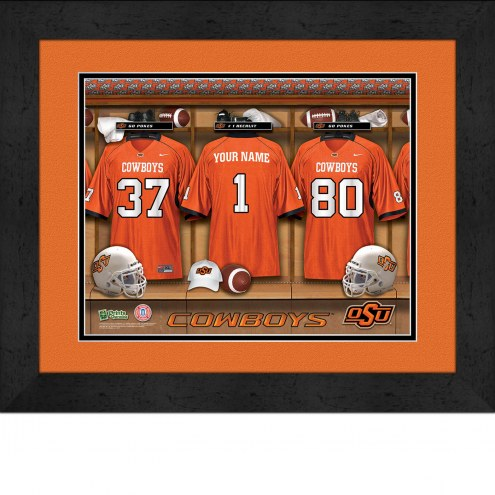 Oklahoma State Cowboys Personalized Locker Room 13 x 16 Framed Photograph