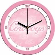 Oklahoma State Cowboys Pink Wall Clock