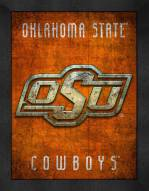 Oklahoma State Cowboys Retro Logo Map Framed Print