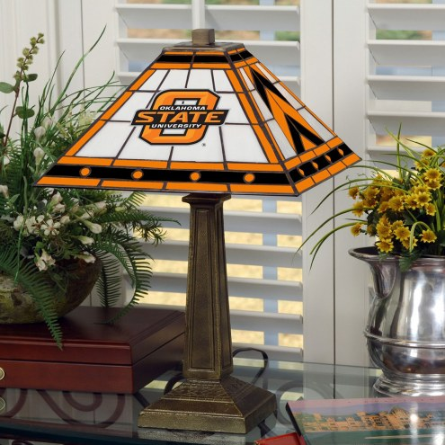 Oklahoma State Cowboys Stained Glass Mission Table Lamp