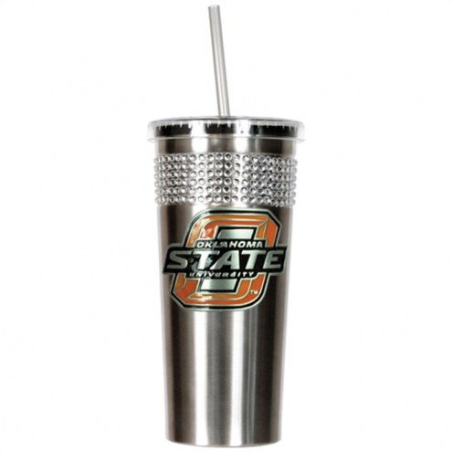 Oklahoma State Cowboys Stainless Steel Bling Tumbler with Straw
