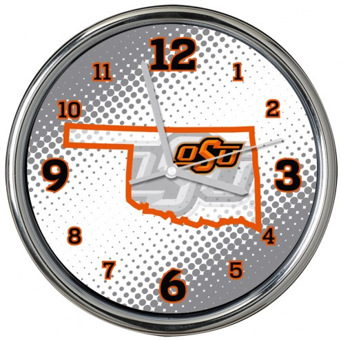 Oklahoma State Cowboys State of Mind Chrome Clock
