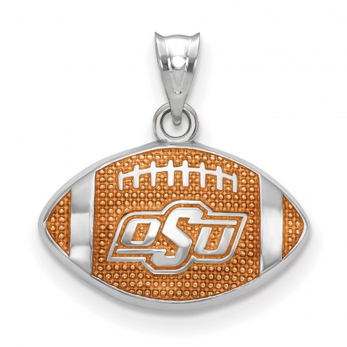 Oklahoma State Cowboys Sterling Silver Enameled Football Pendant