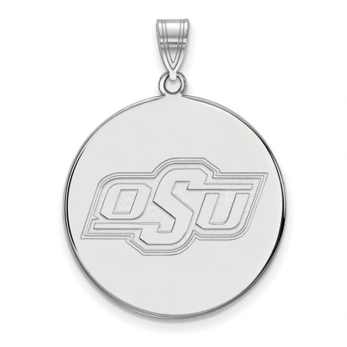 Oklahoma State Cowboys Sterling Silver Extra Large Disc Pendant