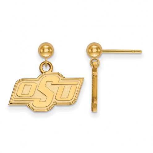 Oklahoma State Cowboys Sterling Silver Gold Plated Dangle Ball Earrings
