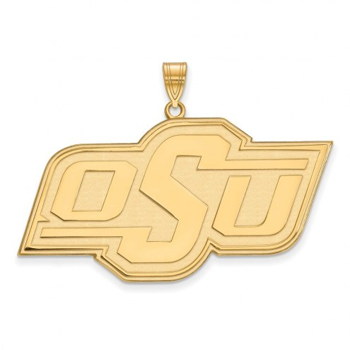 Oklahoma State Cowboys Sterling Silver Gold Plated Extra Large Pendant