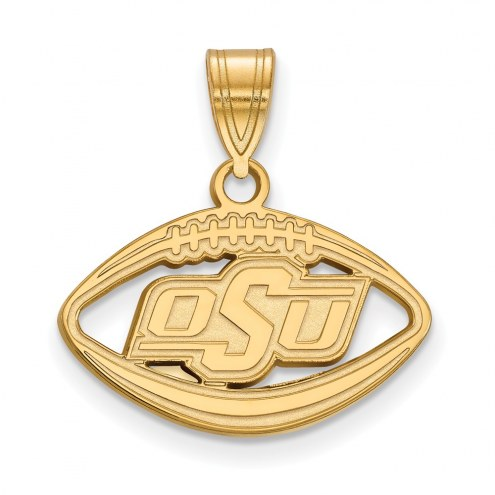 Oklahoma State Cowboys Sterling Silver Gold Plated Football Pendant