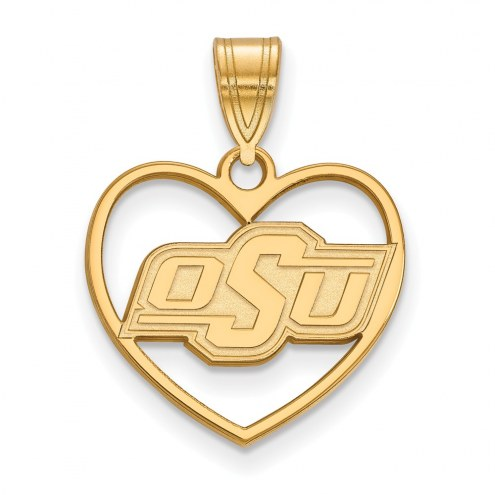 Oklahoma State Cowboys Sterling Silver Gold Plated Heart Pendant