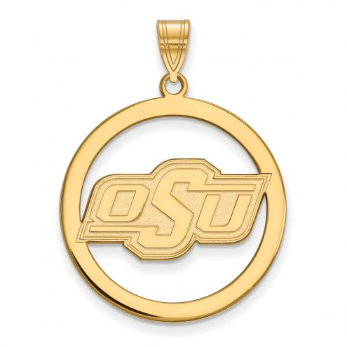 Oklahoma State Cowboys Sterling Silver Gold Plated Large Circle Pendant
