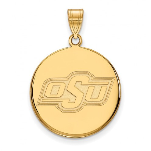 Oklahoma State Cowboys Sterling Silver Gold Plated Large Disc Pendant