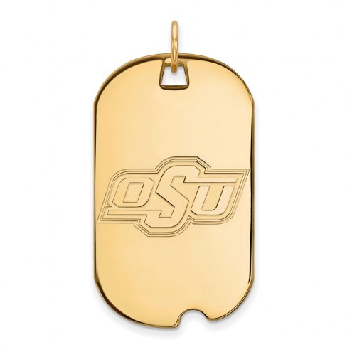 Oklahoma State Cowboys Sterling Silver Gold Plated Large Dog Tag