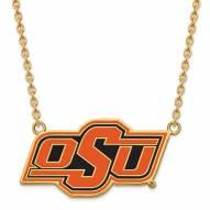 Oklahoma State Cowboys Sterling Silver Gold Plated Large Pendant Necklace
