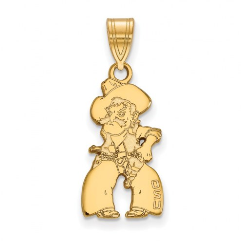 Oklahoma State Cowboys Sterling Silver Gold Plated Large Pendant