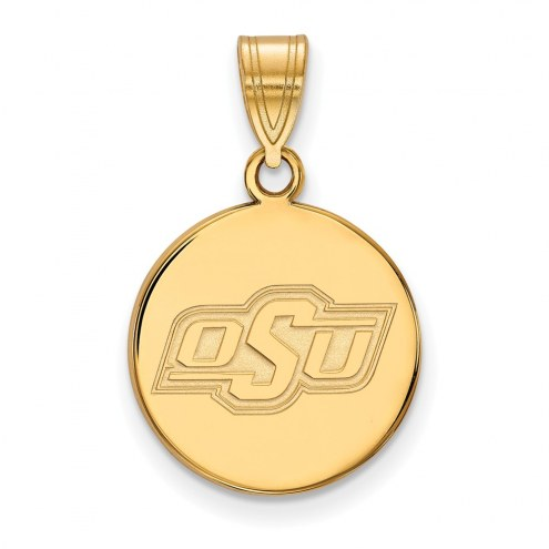 Oklahoma State Cowboys Sterling Silver Gold Plated Medium Disc Pendant