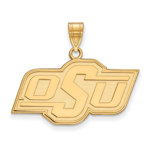Oklahoma State Cowboys Sterling Silver Gold Plated Medium Pendant