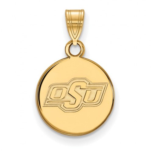 Oklahoma State Cowboys Sterling Silver Gold Plated Small Disc Pendant