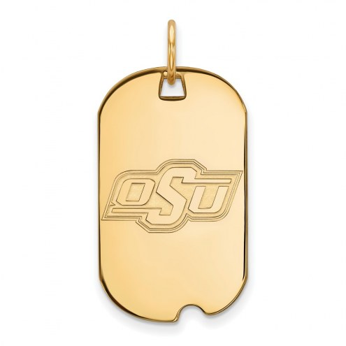 Oklahoma State Cowboys Sterling Silver Gold Plated Small Dog Tag