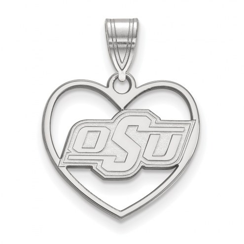 Oklahoma State Cowboys Sterling Silver Heart Pendant