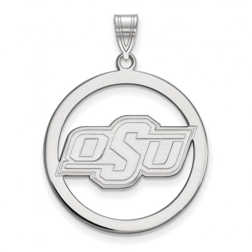 Oklahoma State Cowboys Sterling Silver Large Circle Pendant