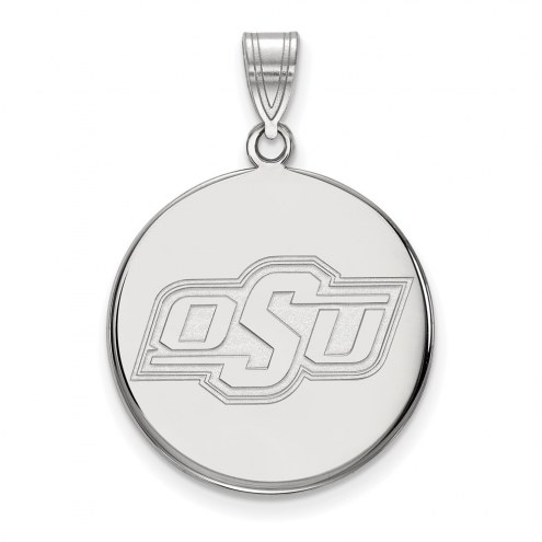 Oklahoma State Cowboys Sterling Silver Large Disc Pendant