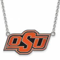 Oklahoma State Cowboys Sterling Silver Large Enameled Pendant Necklace