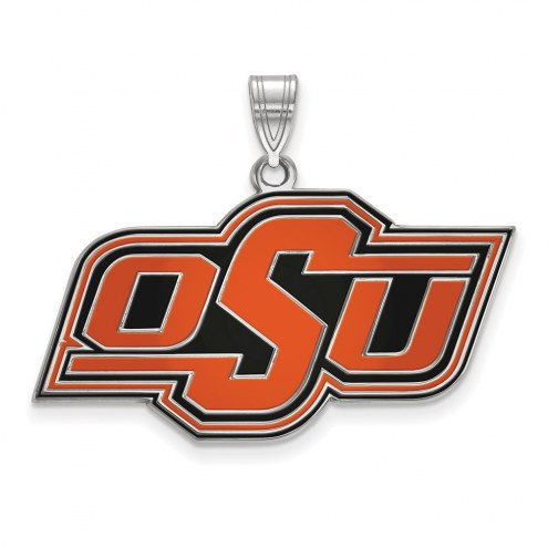 Oklahoma State Cowboys Sterling Silver Large Enameled Pendant