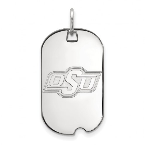 Oklahoma State Cowboys Sterling Silver Small Dog Tag