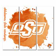 Oklahoma State Cowboys Triptych Watercolor Canvas Wall Art