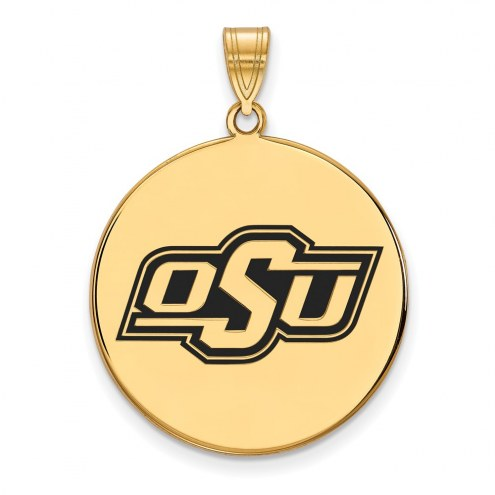 Oklahoma State Cowboys Sterling Silver Gold Plated Extra Large Enameled Disc Pendant