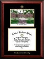 Old Dominion Monarchs Gold Embossed Diploma Frame with Campus Images Lithograph