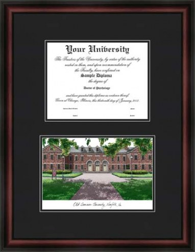 Old Dominion University Diplomate Framed Lithograph with Diploma Opening
