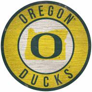 """Oregon Ducks 12"""" Circle with State Sign"""