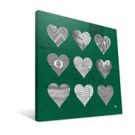 "Oregon Ducks 12"" x 12"" Hearts Canvas Print"