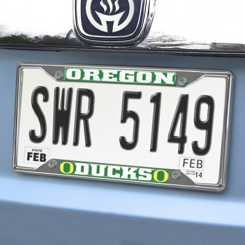 Oregon Ducks Chrome Metal License Plate Frame