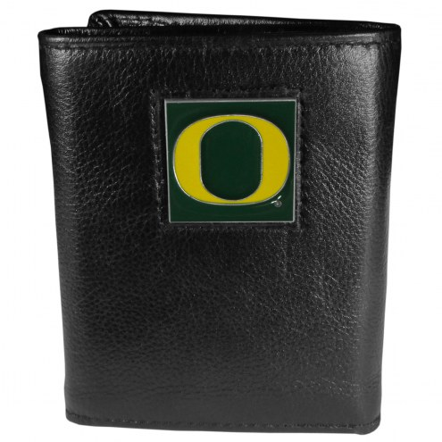 Oregon Ducks Deluxe Leather Tri-fold Wallet in Gift Box