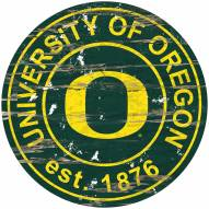 Oregon Ducks Distressed Round Sign