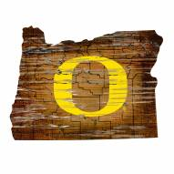 Oregon Ducks Distressed State with Logo Sign