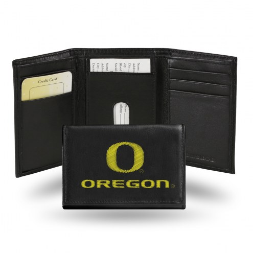 Oregon Ducks Embroidered Leather Tri-Fold Wallet