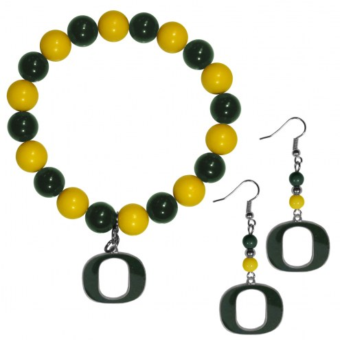 Oregon Ducks Fan Bead Earrings & Bracelet Set