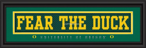"""Oregon Ducks """"Fear The Duck"""" Stitched Jersey Framed Print"""