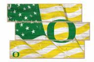 Oregon Ducks Flag 3 Plank Sign
