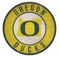 Oregon Ducks Round State Wood Sign