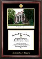 Oregon Ducks Gold Embossed Diploma Frame with Campus Images Lithograph